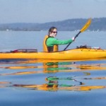 Angie paddling to Kirkland