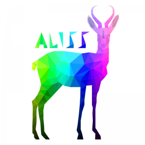 A stylized antelope with the letter I on its forehead and the word ALISS over its back